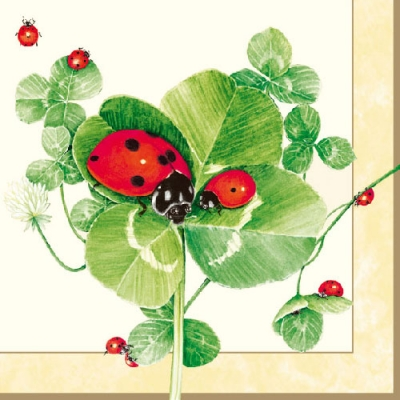 20 napkins - 33 x 33 cm LADYBIRD,  Other - other,  Animals - ladybugs,  Plants - clover,  Spring,  lunchnapkins,  Clover