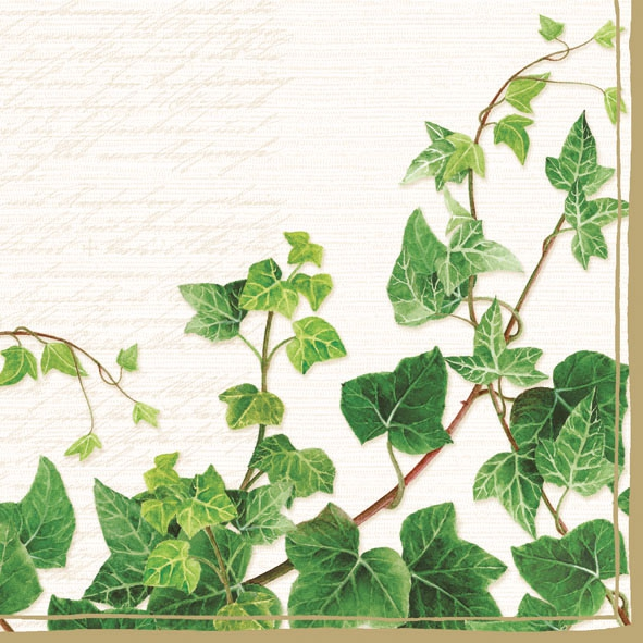 20 napkins - 33 x 33 cm TENDRIL CREAM,  Summers,  Plants - ivy,  Autumn,  Spring,  lunchnapkins