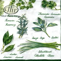 20 napkins - 25 x 25 cm BASIL AND SAGE white                    , Summers,  Plants,  Meals,  Plants - kitchen-herbs,  Spring,  cocktail napkins,  Garden herbs,  chives,  sage,  rosemary,  laurel