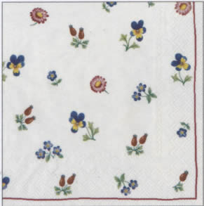20 napkins - 33 x 33 cm V&B Petite Flour,  Flowers - pansies,  Other - porcelain-motives,  Everyday,  lunchnapkins,  V & B Petite Farine