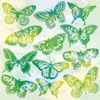 Servietten 25x25 cm - Aquarell Butterflies Green