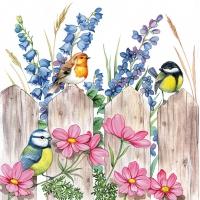 Napkins 33x33 cm - Birds on Fence