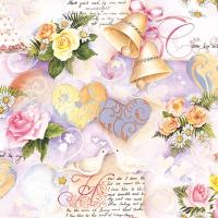 Serviettes 33x33 cm - Wedding Bells Rose
