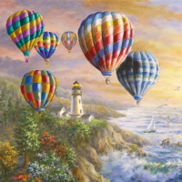 Serviettes 33x33 cm - Hot Air Balloons
