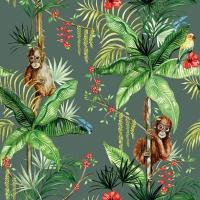 Serviettes 33x33 cm - Orangutan Green