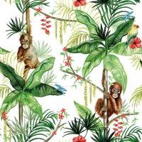 Serviettes 33x33 cm - Orangutan White