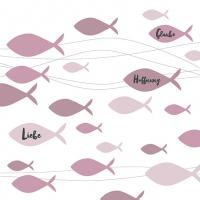 Napkins 33x33 cm - Communion Fishes Bordeaux