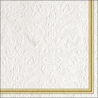 Servilletas 33x33 cm - Elegance Lea White/Gold