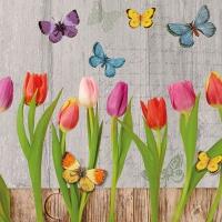Servietten 33x33 cm - Spring Collage Grey