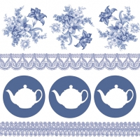 Servilletas 33x33 cm - Teapots Blue