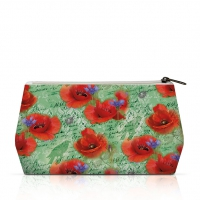 cosmetic bag - Painted Poppies Green