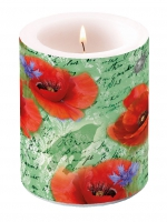 decorative candle - Painted Poppies Green