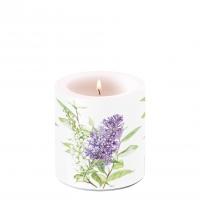 Decorative candle small - Lilac White