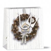 Gift bag 22x13x25 cm - Pine Cone Wreath