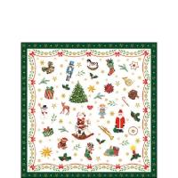 Serviettes 25x25 cm - Ornaments All Over Green