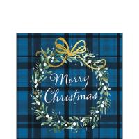 Napkins 25x25 cm - Christmas Plaid Blue