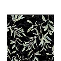 Servietten 25x25 cm - Mistletoe All Over Black