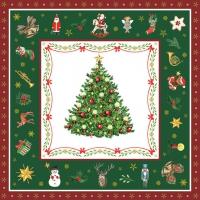 Serviettes 33x33 cm - Christmas Evergreen Green