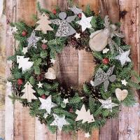 Servilletas 33x33 cm - X-Mas Wreath