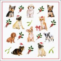 Serviettes 33x33 cm - Christmas Dogs