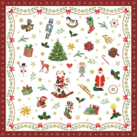 Serviettes 33x33 cm - Ornaments All Over Red