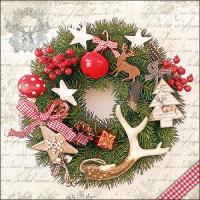 Serviettes 33x33 cm - Forest Wreath