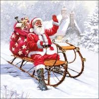 Serviettes 33x33 cm - Santa On Sledge