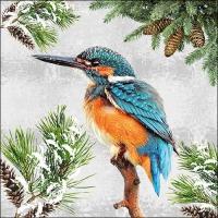 Serviettes 33x33 cm - Kingfisher In Snow