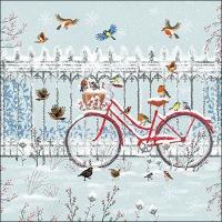Serviettes 33x33 cm - Snowy Bicycle
