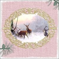 Servilletas 33x33 cm - Elegant Deers Rose