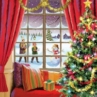 Servilletas 33x33 cm - Christmas Window