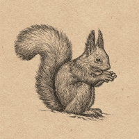Napkins 33x33 cm - Recycled Etching Squirrel