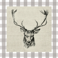 Napkins 33x33 cm - Checked Stag Head Brown