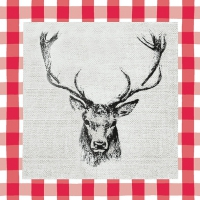 Napkins 33x33 cm - Checked Stag Head Red