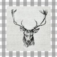 Napkins 33x33 cm - Checked Stag Head Grey