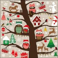 Serviettes 33x33 cm - Christmas Owls