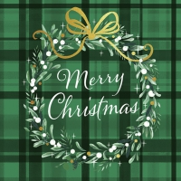 Napkins 33x33 cm - Christmas Plaid Green