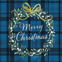 Napkins 33x33 cm - Christmas Plaid Blue