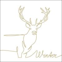 Serviettes 33x33 cm - Deer Drawing Gold