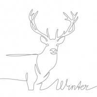 Serviettes 33x33 cm - Deer Drawing Silver