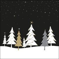 Serviettes 33x33 cm - Midnight Trees Black