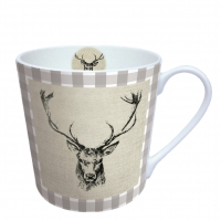 Porcelain Cup - Checked Stag Head Brown