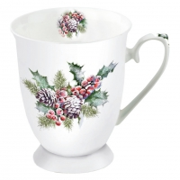 Porcelain Cup -  Holly And Berries