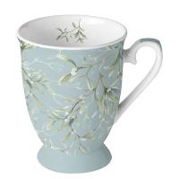 Porcelain Cup -  Mistletoe All Over Green