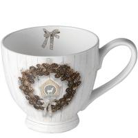 Porcelain Cup -  Pine Cone Wreath