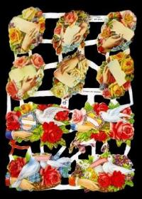 Imágenes brillantes con mica plateada - Rosenstrauß und Tauben in Rosen