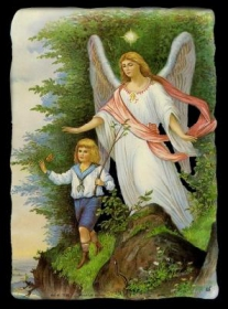Imágenes brillantes con mica dorada - großer Schutzengel mit Kind