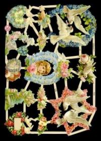 Imágenes brillantes con mica plateada - Blumen mit Tauben und Kinderkopf