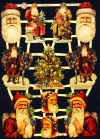 Imágenes brillantes con mica plateada - Weihnachtsmänner, Weihnachtsmannköpfe