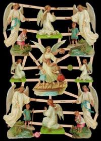 Imágenes brillantes con mica plateada - 9 Schutzengel mit Kinder